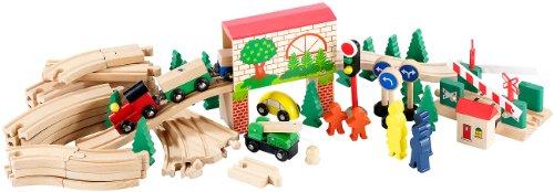 Preisvergleich Produktbild Playtastic Großes Holz-Eisenbahn-Set mit 60 Teilen