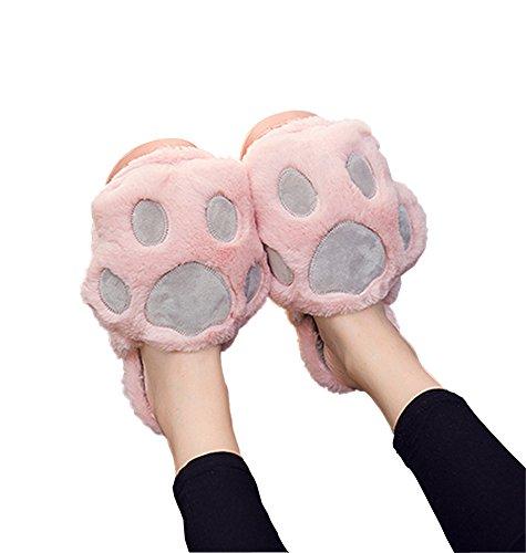 Rojeam - Pantoufles pour femme - Pantoufles intérieures pour pantoufles Rose grise