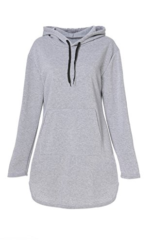 Perfectii Hood Long Damen Kapuzenpullover, Hoodie Long Sweatshirt mit Fleece-Innenseite Longline Sweat-Kleid Pullover Pulli Langarmshirt