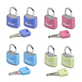 Master Lock 9120EURTCOL Set Lucchetti, Arco Acciaio 11 mm, Apertura Chiave Unica, Alluminio, Azzurro/Verde/Rosa/Lilla, 20 mm, 2 Pezzi