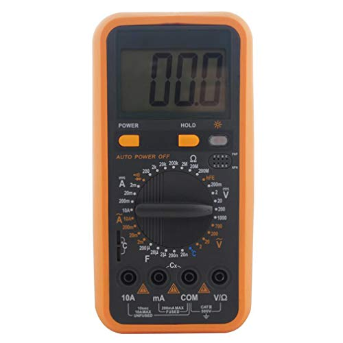 ZYX Multimetro, Strumento di Misura del voltaggio dell'alimentatore Portatile ad Alta precisione, Test di continuità del diodo di Resistenza del voltmetro DC/AC, Arancione