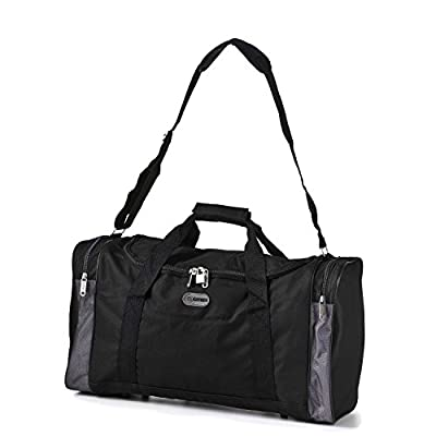 5 Cities® world's lightest (only 0.5kg!) Cabin Size holdall BLACK -fits Ryan Air/Easy Jet 55 x 40 x x 20 -flight bag. Actual dimension 54x30x20, Massive 32l Capacity - inexpensive UK light store.