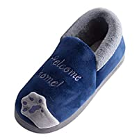 Ultramall Men Winter Home Slippers Cartoon Cat Non-slip Warm Indoors Bedroom Floor Shoes Navy 42-43