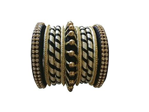 Wanaw Hand Craft thread bangles for women Black colour(2x6)