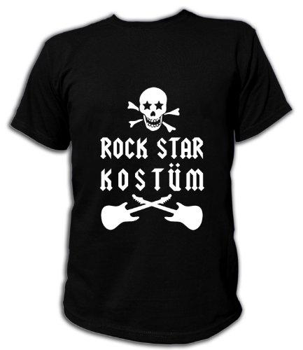 Kostüm Und Popstars Rockstars - Artdiktat T-Shirt Rock Star Kostüm Unisex, Größe XL, schwarz