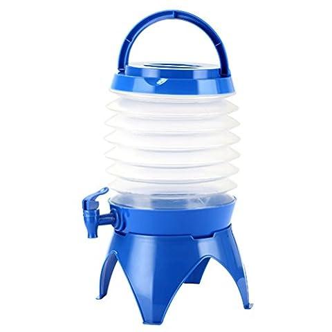 WINOMO Campingkanister Wasserbehälter Faltbar Bier Getränke Behälter Fässchen mit Bodenteil und Hahn für Outdoor Camping Reisen 5L (blau)