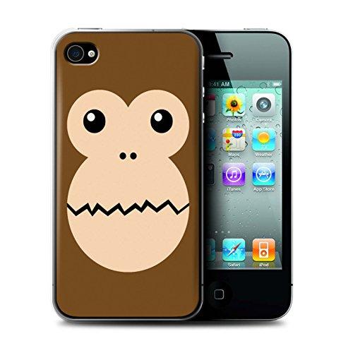 Stuff4® Hülle/Case für Apple iPhone 4/4S / AFFE Muster/Animierte Tiergesichter Kollektion (4s Iphone Affe)