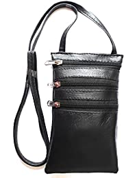Yela Travel/Daily Use Trendy Black Faux Leather Neck Pouch Mobile Sling Passport Sling Having 3 Pockets