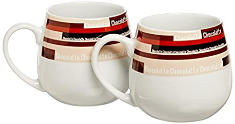 Konitz Snuggle Mugs, Chocolate Stripes, Set of 2 by Konitz