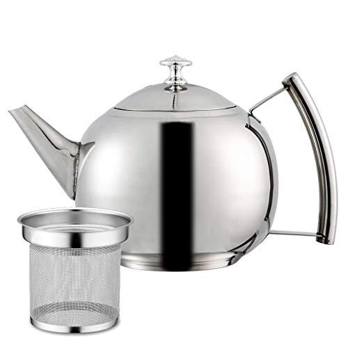 Provide The Best 1000ml Edelstahl Teekanne Tee-Topf Teekann Kaffee Kanne mit Teesieb runden Edelstahl-Teekanne Tea Leaf Filter Infuser polierte - 1,0 Liter