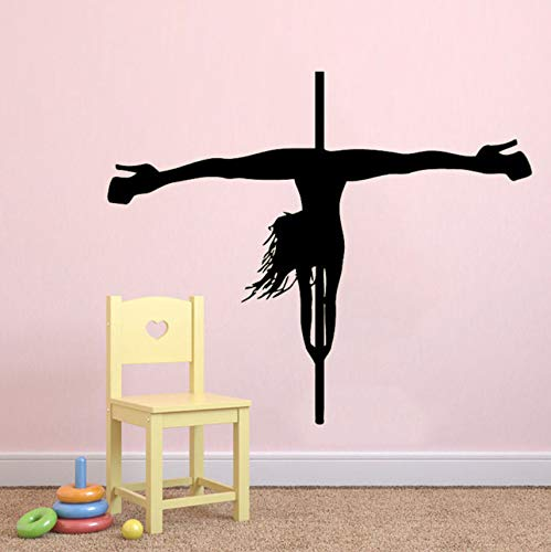 (Hwhz 72 X 63 Cm Pole Dancing Wandtattoos Pole Dancer Vinyl Aufkleber Mädchen Strip Dance Decor)