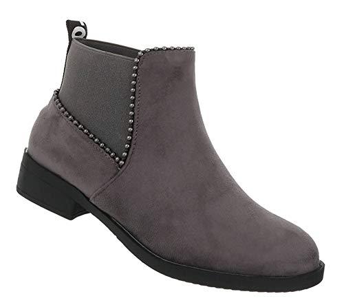Damen Schuhe Stiefeletten Flache Stiefel Blockabsatz Ankle Boots Kurze Booties Grau 39