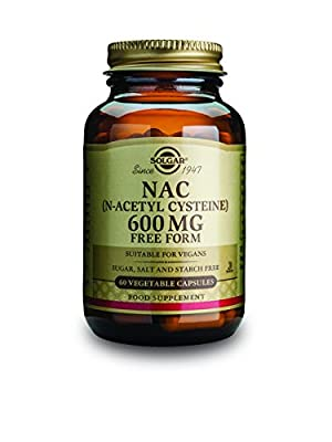 Solgar NAC 600 mg Vegetable Capsules (N-Acetyl-L-Cysteine) - 60 Capsules by 10