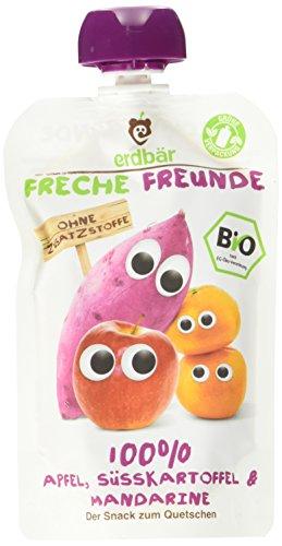 Freche Freunde Bio Quetschie 100% Apfel, Süßkartoffel & Mandarine, 6er Pack (6 x 100 g)