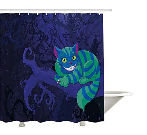 rland Dekorationen Kollektion, Chester Katze sitzt auf Einem AST in Fairy Forest Charakter Alice, Polyester-Bad Duschvorhang Set mit Haken, grün blau lila 72 'x 80' ()