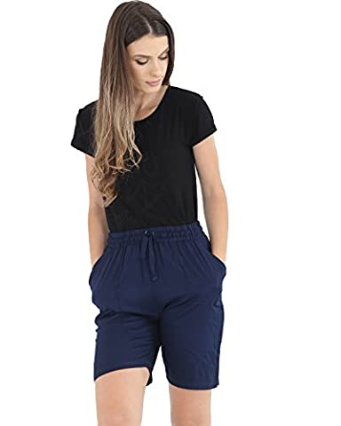ROCKBERRY Ladies Long Length Linen Shorts Womens Fashionable Elasticated Smart Fit Pants with Matching Drawstring (16,