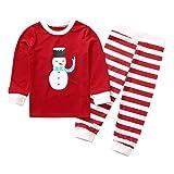 Auiyut Kinder Schlafoveralls Pyjama Set Weihnachtsmotiv Pyjama Familie Nachtwäsche Familienkleidung Unisex Kinder Schneemann Muster Langarmshirt Gestreifte Hose 1-8 Jahre alt