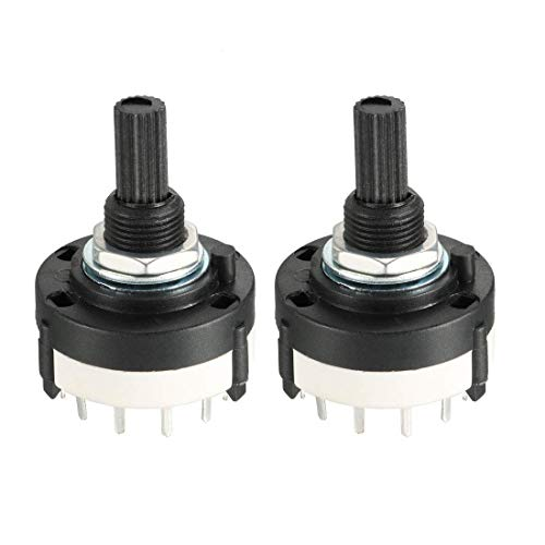 ZCHXD 1P12T 1 Pole 12 Throw Single Deck Band Channel Rotary Switch Selector 2pcs