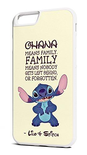 Customcases Walt Disney Animation Lilo Und Stitch Entwerfen 'Ohana Weise Familie' Klassisch Film Zitat Weiß Gummi-Telefon-Kasten für iPhone 7 (Walt Filme Klassischen Disney)