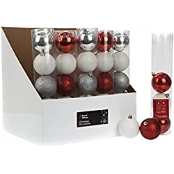 5x 6cm, colore: argento/bianco/rosso palline albero di Natale Decorazioni