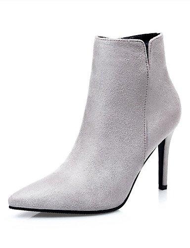 WSS 2016 Chaussures Femme-Décontracté-Noir / Gris / Fuchsia / Kaki-Talon Aiguille-Talons-Talons-Laine synthétique gray-us5.5 / eu36 / uk3.5 / cn35
