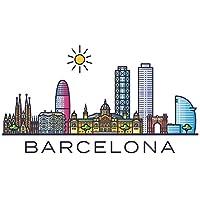 Pegatina de pared skyline Barcelona España ciudades motivo lugares turísticos pared pegatina paisaje urbano pegatina horizonte