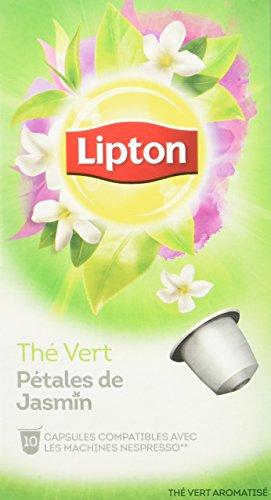 Lipton Thé Vert Pétales de Jasmin 10 Capsules Compatibles Nespresso 30 g - Lot de 4