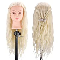 "Training Head Blonde, MYSWEETY 70% Real Hair 60cm/23.6"" Cosmetology Hairdressing Practice Mannequin Manikin Doll Head+ Table Clamp + Hairstyle Accessories Kit"