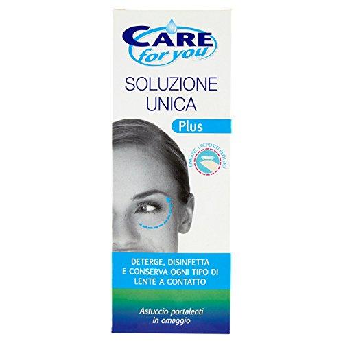 Care For You, Flacone di Soluzione Unica Plus da 360 ml, Deterge e Disinfetta ogni Tipo di Lente a Contatto