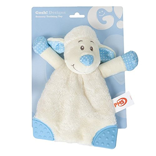 PinkWebShop Soft And Cuddly Lamb Sensory Security Blanket Teething Toy Gift Bag Baby Blue