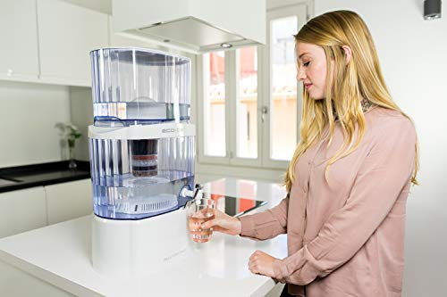 ECO-DE Torre Jarra de Agua purificadora, 8 Sistemas de filtrado, Filtro cerámico, Carbon, Piedras Naturales Aqua Filter Tower