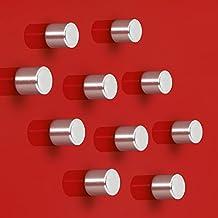 Sigel GL701 - Imanes de neodimio C5 para pizarra de cristal magnética,10 x 10 mm, diseño cilindro, color plateado, 10 unidades