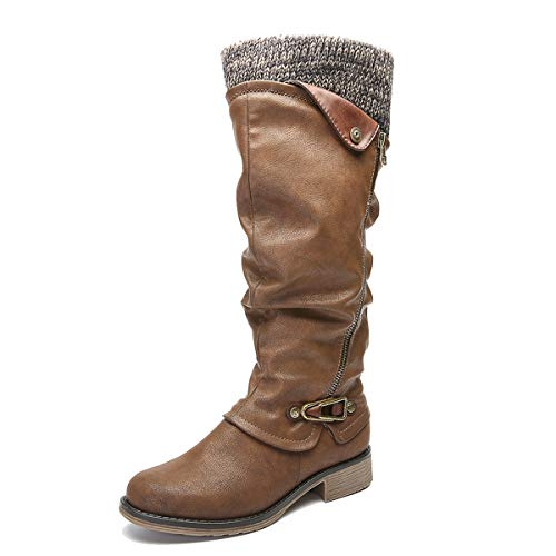 e075589363b5 gracosy Knee High Boots Women s Leather Ankle Riding Boots Ladies Low Flat  Heel Closed Toe Fur Lined Winter Warm Snow ...