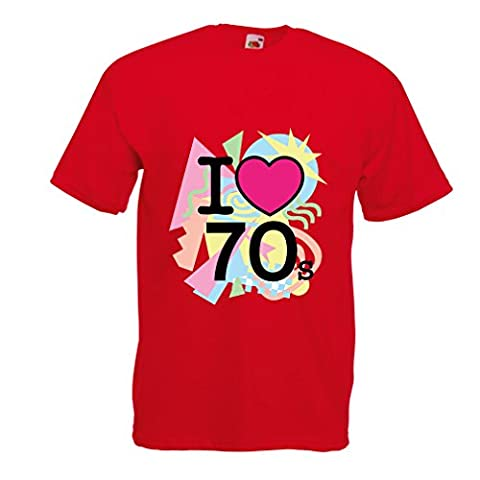 Männer T-Shirt I love 70's - vintage style clothing (Medium Rot Mehrfarben)