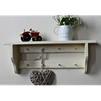 Shabby chic shelf with a double rail of Shakers pegs, cream, 6, 8, 10 or 12 pegs