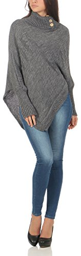 c2f67e51a69849 Weste malito Damen Poncho mit Strick Muster | Umhang im eleganten Design |  Überwurf  ?