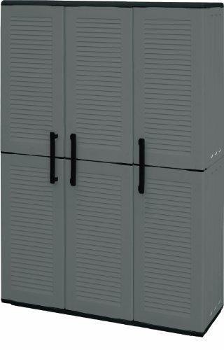 Art plast armadio 3 ante da esterno, alto in plastica, tuttopiani e portascope, economico, grigio/nero