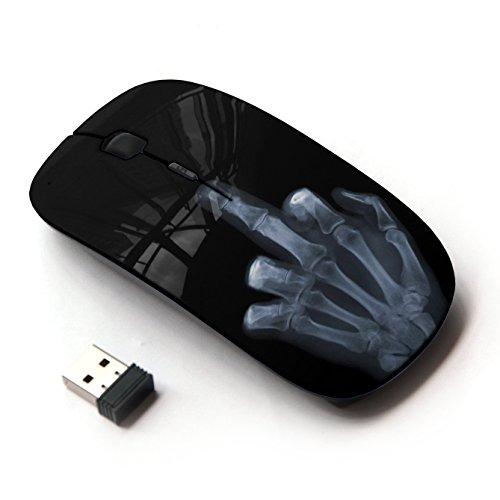 [Peculiar-Star] Colorato stampato ultrasottile ottico senza fili 2.4Ghz mouse-Black [Divertente X Ray mano]