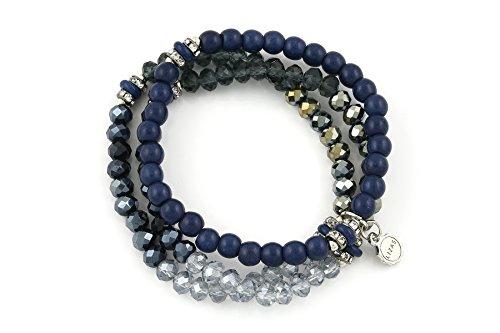Lizas Armband Schmuckarmband dreireihig mit verschiedenen Perlen (Blau)