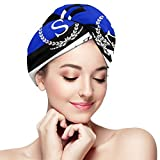 Vcoanyu Hair Drying Towels Thin Blue Line Flag Salazar Wrapped Turban Bath Shower Head Towel Quick Magic Dryer Hat for Ladies Absorbent Fast cap Anti Frizz for Thick Hands-Free Hair