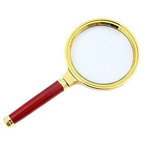 WSC Optische Lupe 10X Ultra Clear Redwood-Handlesevergrößerungsglas 80MM enthält optisches Glas-Objektiv
