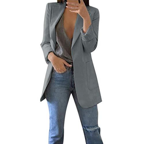Jacke Damen, GJKK Einfarbig Cardigan Mantel Elegante Festliche Strickjacke mit Taschen Elegant Blazer Anzug lange Schlank Bluse Mantel Langarm -