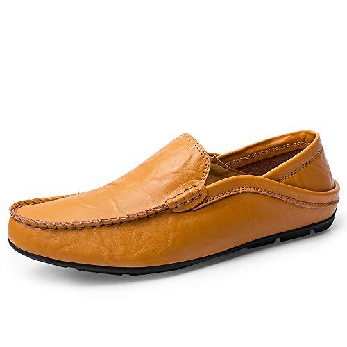 Yiruiya mocassini in pelle uomo estivi eleganti scarpe da lavoro comode giallo-marrone-02 eu 41.5