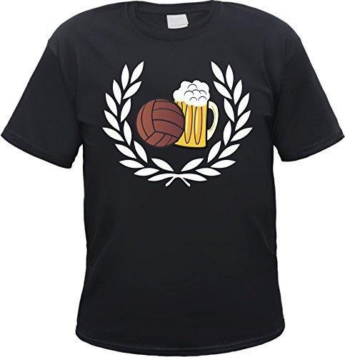 Lorbeerkranz Fussball Bier T-Shirt Schwarz XL (T-shirt Bier Herren)