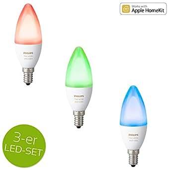 Philips hue White Ambiance and Color RGBW LED E14 6,5W ZigBee Echo Alexa kompatibel - 3er Set
