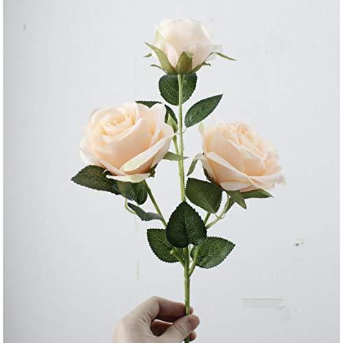 VHJVB 3 Köpfe Rose Branch Künstliche Blumen Valentine Für Haupttischdekor DIY Hochzeitsdekoration Mariage Kranz, Champagner (Valentine Diy Kranz)