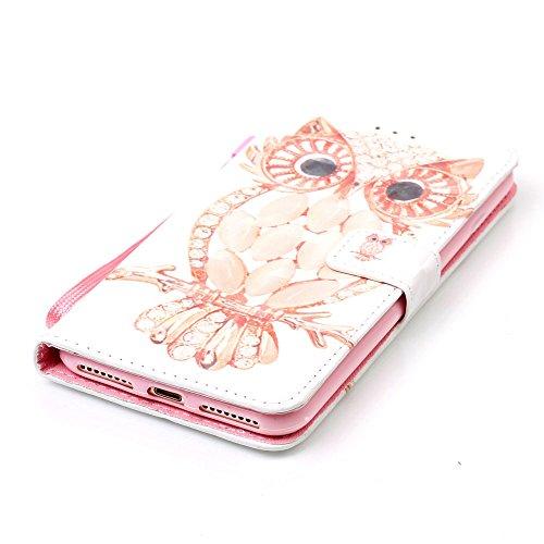iPhone 7 Coque, étui Apple iPhone 7 4.7 pouce ( Noir ), Rabat Style Cuir Case Joli 3D Image Motif ( Crâne ) - Slap-up Portefeuille Case Carte Titulaire Colorisé Cordon Rose-2