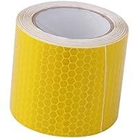 Cinta adhesiva reflectante de advertencia de seguridad Hemore, cinta adhesiva de fuerte resistencia, rollo de cinta, pegatina para bricolaje, decoración amarilla, herramientas de mano de jardín
