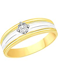 VK Jewels Single Stone Gold And Rhodium Plated Alloy CZ American Diamond Ring For Men [VKFR2094G]