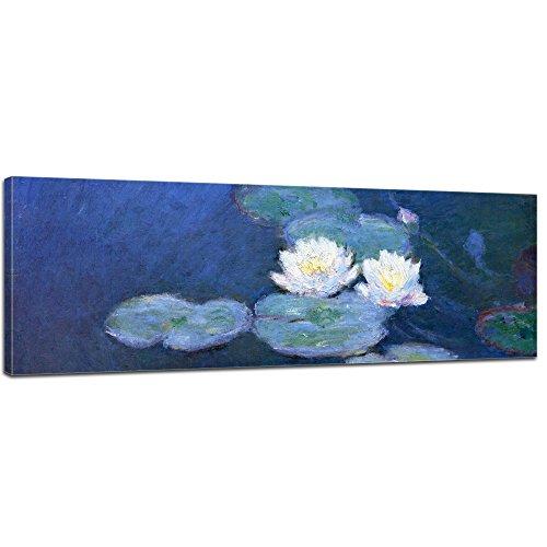 Bilderdepot24 Tela Foto panoramica Claude Monet - Antichi Maestri Ninfee 160x50cm - Completamente incorniciati, Direttamente dal Produttore